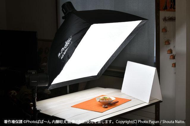 ソフトボックスを使ったストロボライティングの料理写真撮影例