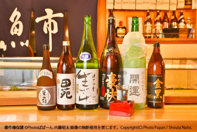 お寿司屋さんの、日本酒と焼酎のお酒イメージ