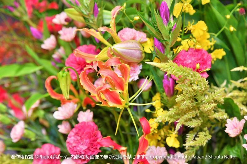 ピアノ教室の音楽演奏発表会の写真撮影、会場のきれいな装花イメージ。