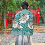 蒲神明宮での七五三お祝い撮影。男の子の衣装。
